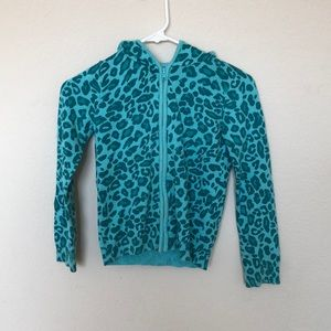 Blue Leopard Print sweater. Size 8